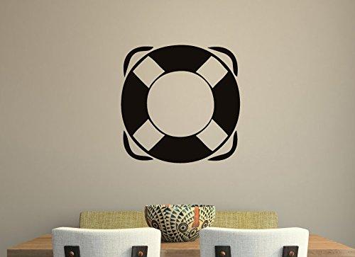 jiuyaomai Nautische Ring Wandtattoo Spielzimmer Wandaufkleber Vinyl Jungen Zimmer Kunstwand Navy Sailor Wohnkultur Leben Boje Muster Dekor 57x57 cm
