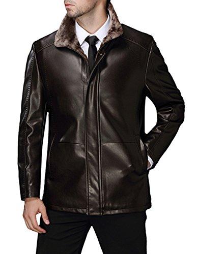 Männer Pelz Leder Jacke dicke Samt Lederjacke Warm Lammwolle Futter Kaffee