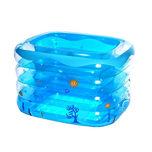 GYL Aufblasbarer Pool für Familien, tragbarer Speicher, quadratisches Planschbecken, große faltende Badewanne, Blauer Druck, 143 * 105 * 75cm -