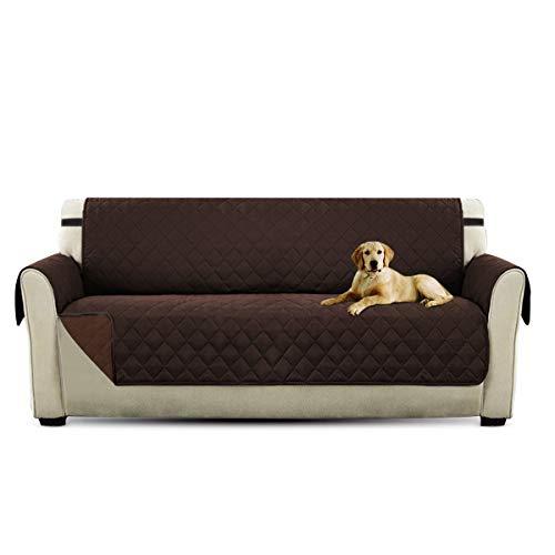 Petcute copripoltrona per divano trapuntato luxury protegge da animali extra morbido marrone 3 plazas