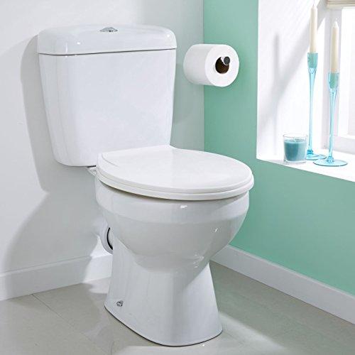 Dual-flush (valuebaths Boden modernes Keramik Schließen Gekoppelt weiß Bad WC WC Pfanne Dual Push Button Flush Spülkasten und Sitz)