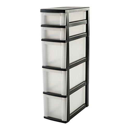 IRIS 110485, Nischenwagen / Schubladenschrank / Rollwagen / Rollcontainer 'New Slim Chest', NSC-223, mit Rollen, für Küche / Badezimmer, Kunststoff, schwarz / transparent