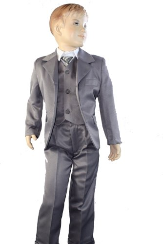 Kids 5 Piece Suit Grey Formal Wedding Party Shirt Tie Blazer Trouser (9 yrs, silver grey)