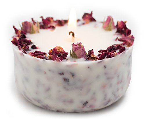 Organic Soy Candle with Real rose buds and Rose scent, real essential...