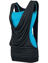 Effet 2 en 1 Open Top Femme noir/turquoise