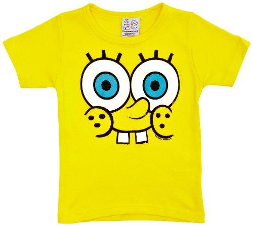 hirt Spongebob faces Printed, Rundkragen, Gelb (Yellow), 146 (Kinder Spongebob Schwammkopf Kostüme)