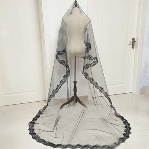 n Braut Schwarz Schleier Kostüm Kleid Schleier Gestickte Spitze 1,5/3 Meter Schleier Halloween Kostüm Zubehör (3 Meter) ()