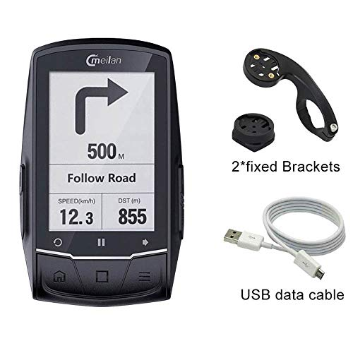 MeiLan GPS para Bicicleta de Ciclismo y Ordenador M1 para Bicicleta, GPS de Giro, se Puede conectar con cadencia/Ritmo cardíaco/medidor de Potencia (no Incluido)