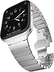 G-Zone Stainless Steel Link Bracelet Replacement for Apple Watch Band | iWatch Band with Butterfly Folding Cla