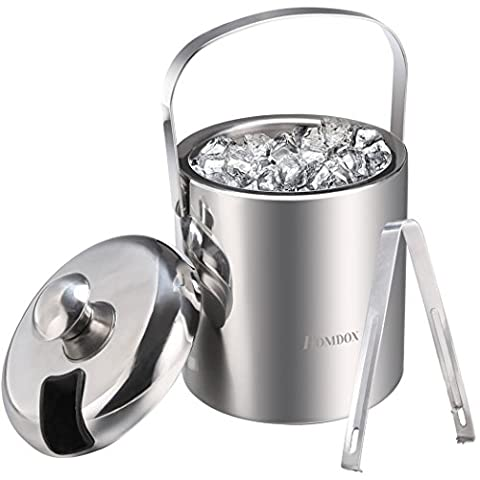 Homdox Stainless Steel Handle Ice Bucket Chrome Finish Thick Ice