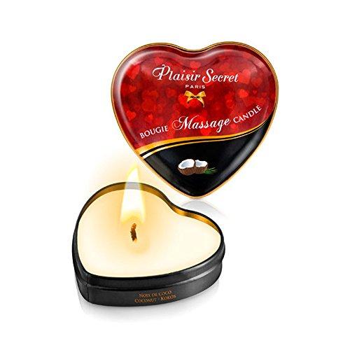 Vela Masaje Erótico Comestible y Afrodisíaca con Aroma Coco 35 ml. En lata con forma de corazón - Plaisirs Secrets Paris