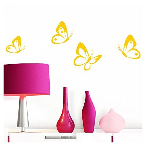 Grandora Wandtattoo 4er Set Schmetterlinge I gelb 8-10 cm I Baby Kinderzimmer selbstklebend Wand Aufkleber Wandaufkleber Wandsticker Sticker W697