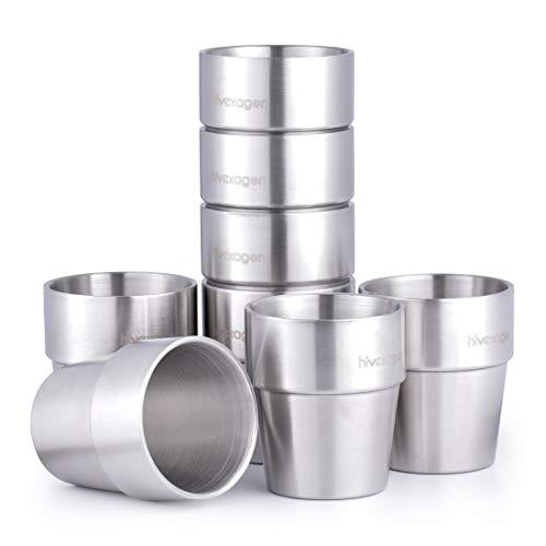 Hivexagon 300ml Set aus 8 Doppelwandigen Edelstahl Becher Edelstahl Tasse- Ideal Für Kalte Getränke - Spülmaschinenfest HG298