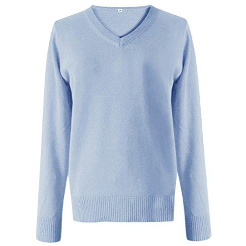 QIYUN.Z Femmes JK Uniformes V-Neck Sweaters Unisexe Cosplay Costume D'Anime Tricoté Bleu Clair