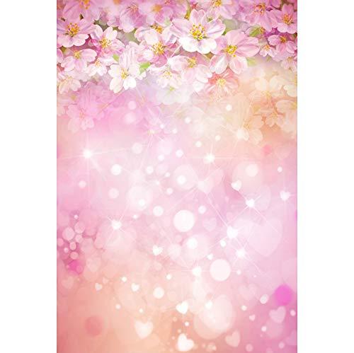 YongFoto Fotohintergrund, Vinyl, 3 x 1,5 m, Pink blühende Blumen Bokeh Weiß Glitzer Punkte Herzen Formen Hintergrund Event, Party Dekoration Hochformat Foto Shoot Studio Foto Stand Requisiten (Foto-stand Requisiten Für Ein)