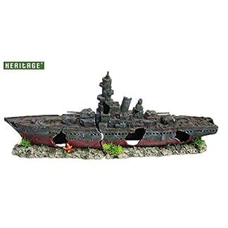 HERITAGE AQUARIUM FISH TANK WARSHIP BATTLESHIP BOAT SHIP WRECK HANDPAINTED ORNAMENT (WS008BL Large 73cm) 7