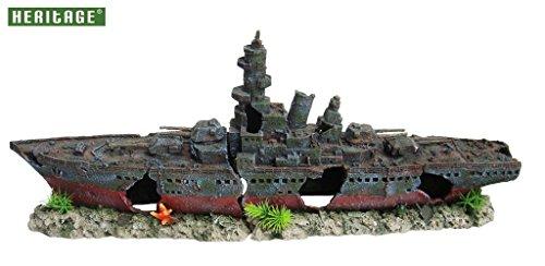 Heritage Pet Products Modell eines Kriegsschiffes fürs Aquarium, Schiffswrack, handbemalt
