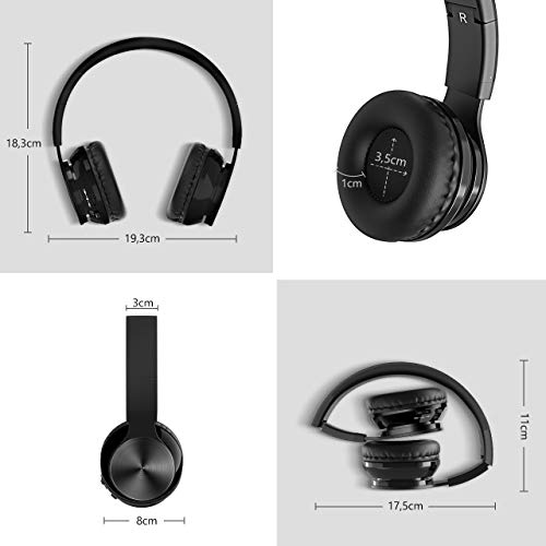 OMORC Bluetooth Cuffie Stereo Waver Wireless Headphones Pieghevole Over-Ear Bluetooth 4.0 Auricolari Microfono Ricaricabile Funziona 8 Ore, per iPhone, Samsung Galaxy, Huawei e Altri Smartphone, Nero