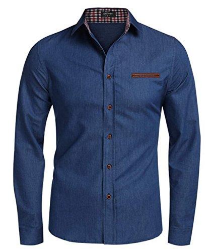 YesFashion Men's Casual Denim Work Shirt Button Down Dark Blue L (Polo Big Long And Sleeve Shirt Tall)