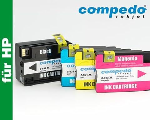 Compedo Premium XL-Multipack 4er CMYK (1 x 39 ml + 3 x 13,5 ml) mit Chip und Füllstandsanzeige ersetzt HP Nr. 932/932XL (CN057AE/CN053AE) und 933/933XL (CN058/59/60AE/CN054/55/56AE) und HP Nr. 933 (CN060AE) für HP Officejet 6100 H611a, 6600 H711a, 6700 Premium H711n, 7110 H812A wide format, 7610 H912A wide format u. a.