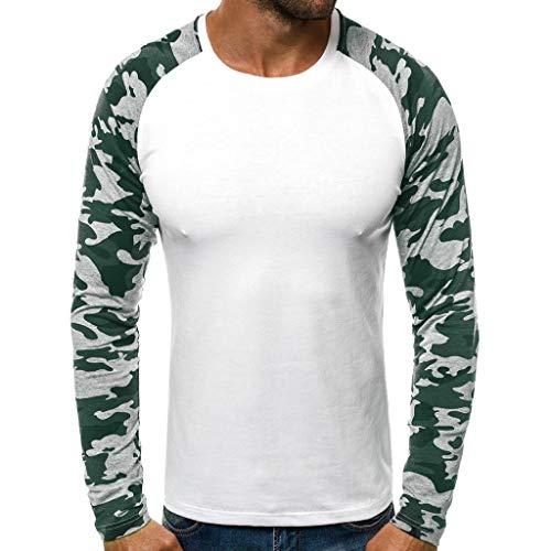 Herren T-Shirt Camouflage Drucken Casual Tee Short Sleeve T-Stück Rundhals Sommer Tops Bluse Fitness Tops