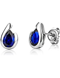 Miore Ladies 9ct White Gold Pear shape Sapphire Bezel Earrings MG9241E