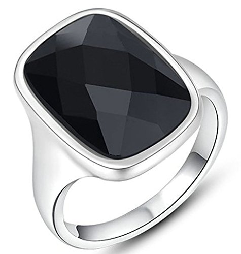 Epinki Gioielli Anello Da Donna Cerchio Angelo Nero Diamante Misura 12 Bianco Oro-Placcato Oro