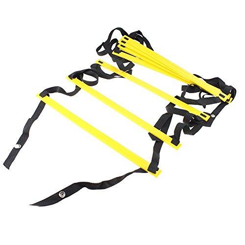 AGPtek Durevole 8-rung Agility Ladder , Soccer Training Ladder, Scaletta di Formazione di Calcio per piedi di Fitness calcio Soccer, velocità, formazione(Per interni ed esterni)
