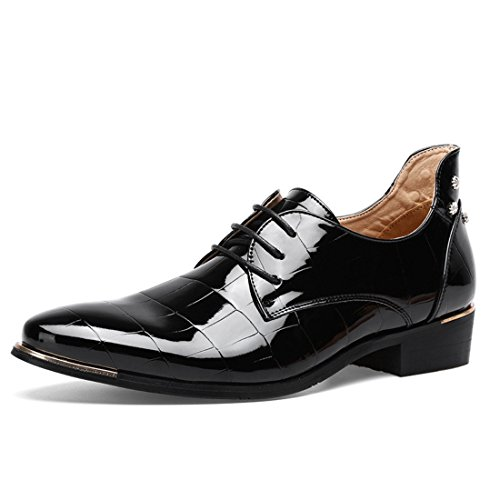 Men's Microfiber Leather Pointed Toe Oxford Shoes 8032 black