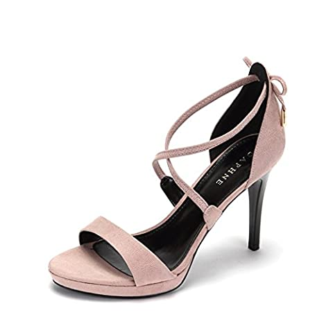Écriture simple high heels en été/Sandales open-toe/ fashion shoes et Croix-strap chaussures/[Chaussures de sangle Cross]-B Longueur du pied=21.8CM(8.6Inch)