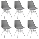 eSituro SDC0052-6 6 x Esszimmerstühle Polsterstuhl Küchenstuhl 6er Set Wohnzimmerstuhl, Sitzfläche aus Kunstleder, mit Metallbeine und Rückenlehne, Grau