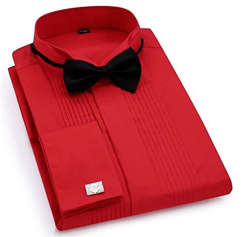 XWSKY® Herren-Hochzeitsabendkleid Langarmhemd Manschettenknöpfe Schwalbenschwanzfaltenknöpfe Dunkles Herrenhemd