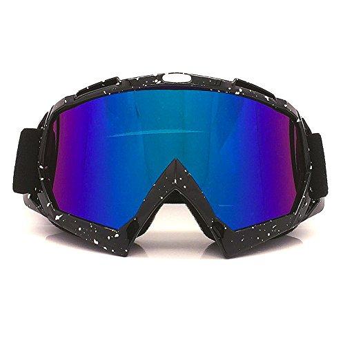 Motorradbrillen Motocross Dirtbike Fahrrad Off-Road Schutzbrille Motorrad Goggles Crossbrille Sportbrille Wind Staubschutz Fliegerbrille Snowboardbrille Brille, Winddicht Staubdicht UV400(Schwarz mit Punkt) (Motorrad-nachtsicht)