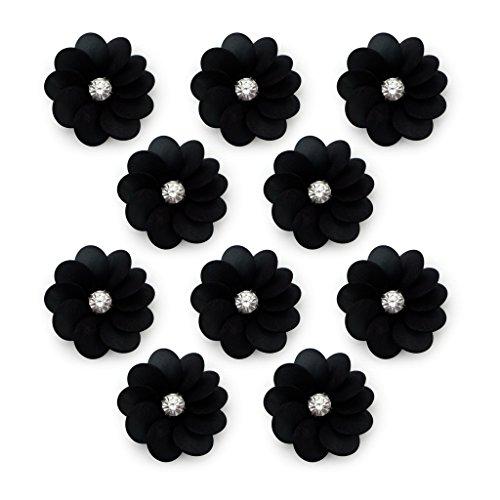 No.22 Semi Vedere attraverso Nero Perle fiore con Diamante Cucire pezzi speciali - abbellimenti per Abbigliamento, Accessori - Confezione da 10