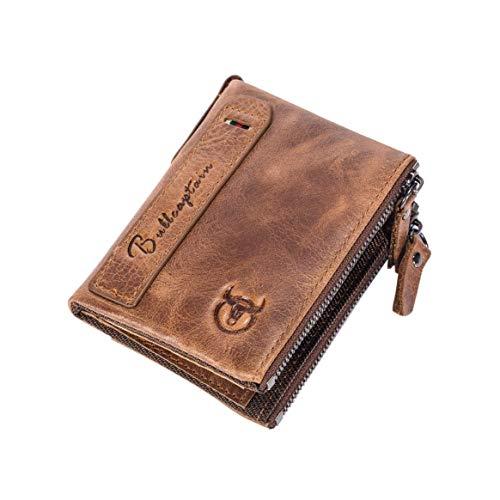 Delicacydex Weinlese-Kuh-Leder-Mann-Mann-Taillen-Beutel-Moderne Geschäfts-Art-Reise-Kreditkarte-Geld-Halter-Tasche mit Metallhaken