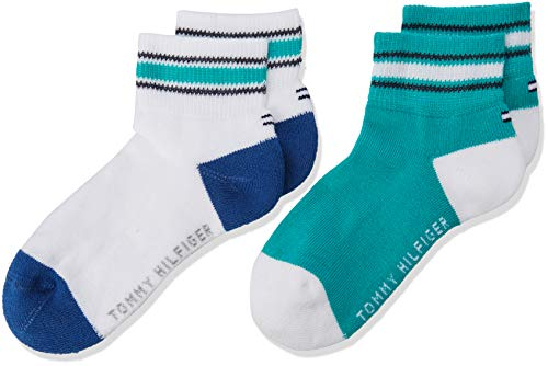 Tommy Hilfiger Jungen TH KIDS ICONIC SPORTS QUARTER 2P Socken, 2per pack Mehrfarbig (aqua green 044), 35-38 (Herstellergröße: 35-38)