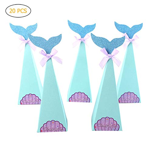 Koowaa 20Pcs Mermaid Gift Boxes-Paper Candy Boxes-Kids Birthday Party Favor Geschenkboxen
