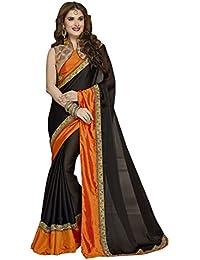 Craftsvilla Women's Chiffon Lace Work Designer Black Saree With Blouse Piece