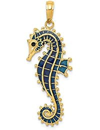 ICE CARATS 14kt Yellow Gold 3 D Blue Enameled Seahorse Pendant Charm Necklace Sea Life Fine Jewelry Ideal Gifts For Women Gift Set From Heart