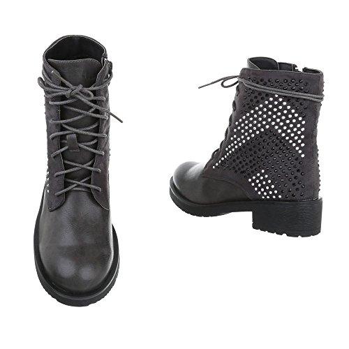 Chaussures femme Bottes et bottines Bloc Bottines a lacet Ital-Design Gris