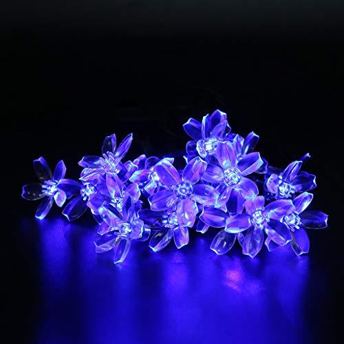 Glowjoy 20 LED Lichterkette,Solar Blume 16,4 Fuß 20er Lichterkette Aussen Gartenlaterne für Weihnachten Partys Garten Hochzeiten Dekoration, Warmweiß (Blau)