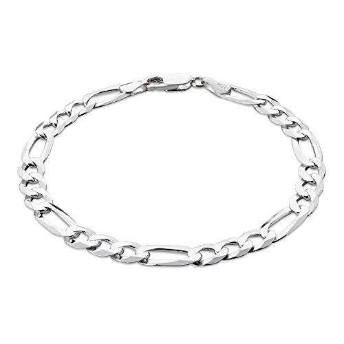 STERLL Bracelet pour hommes, en argent d' une longueur de 21 cm, avec une boite à bijou, idéale comme cadeau pour homme