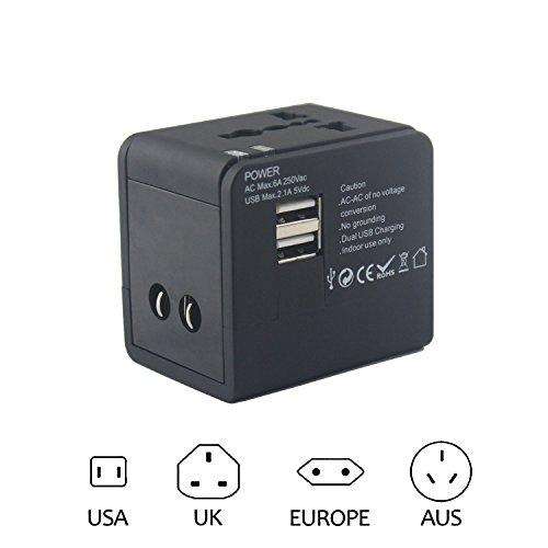 Universelle Reiseadapter und USB-Steckdose für die Touristen-/Dienstreisenden im Ausland mit 2xUSB-A-Port 5V Schwarz (Stecker-Typen: UK, EU, US und AUS)