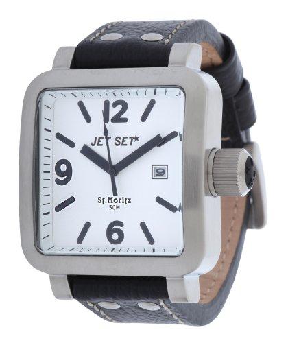 Jet Set Men's Quartz Watch with Black Dial Analogue Display Quartz Leather J27591117