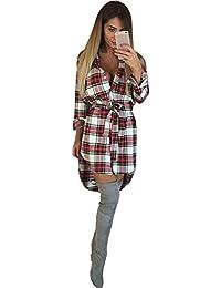 Vestido de Mujer SUNNSEAN Manga Larga Cuadros Bolsillo Botones Solapa  Irregular Lindo Vintage Anchas Casual Blusones 746fa336e73f