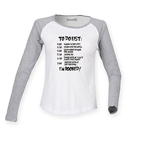 Brand88 - Grinch To Do List, Damen Langarm Baseball T-Shirt Weiss & Grau