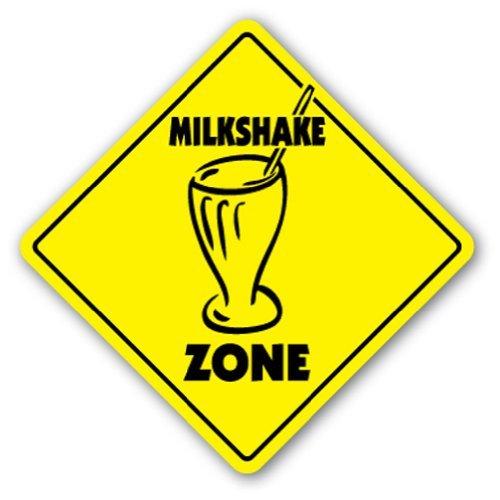 Decoración del hogar signo Milkshake Zone Sign novedad helado Ice Cream Topping pajita Metal Sign para al aire libre Patio señal de seguridad signos de aluminio