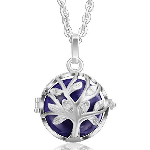Eudora Harmony-Collana da donna con ciondolo con sonaglio Bola Silver Lockets, colore: Dark purple, cod. H214A19-NL28-30