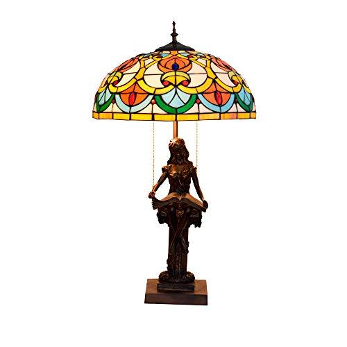 Lámpara De Escritorio Vintage Europea Lámpara De Mesa De Vidrio Manchado De...