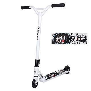 Albott Stunt Scooter 360° Lenkung Sports Tretroller Roller mit 100mm PU-Grün Wheels Kickscooter für Kinder Erwachsene Weiß-schwarz